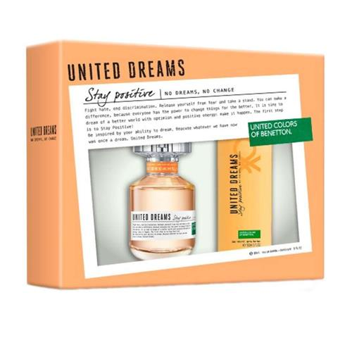 Coffret Benetton United Dreams Stay Positive Feminino - Eau de Toilette 80 ml + Desodorante 150 ml