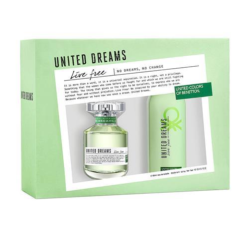 Coffret Benetton United Dreams Live Free Feminino - Eau de Toilette 80 ml + Desodorante 150 ml