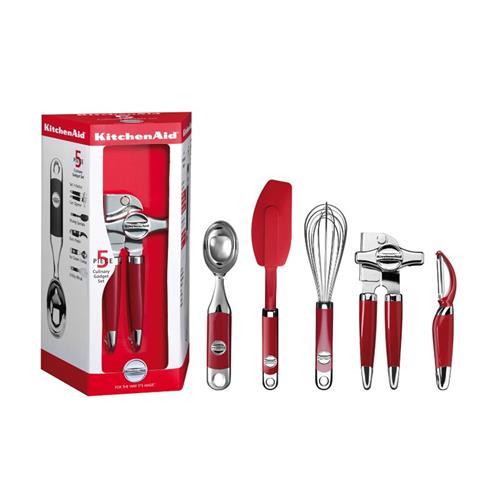 Conjunto de Utensílios para Cozinha KitchenAid Vermelho com 5 Peças KII66AXONA