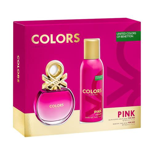 Coffret Benetton Colors Pink Feminino - Eau de Toilette 80 ml + Desodorante 150 ml