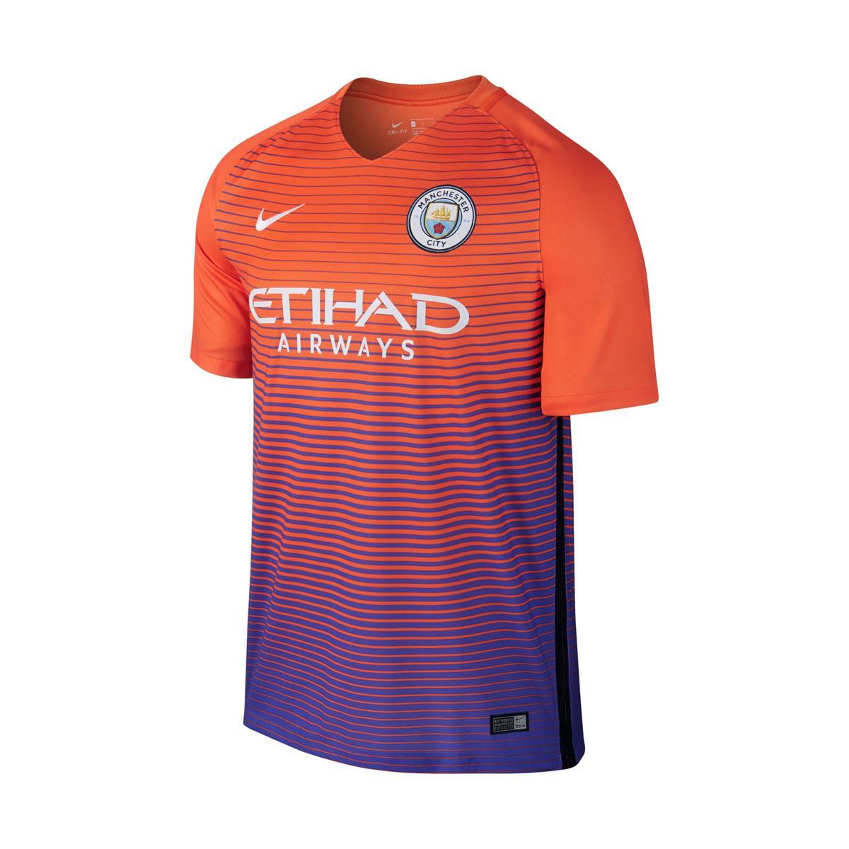 567cef858 Camisa Nike Manchester City III Torcedor 20016 2017 Laranja
