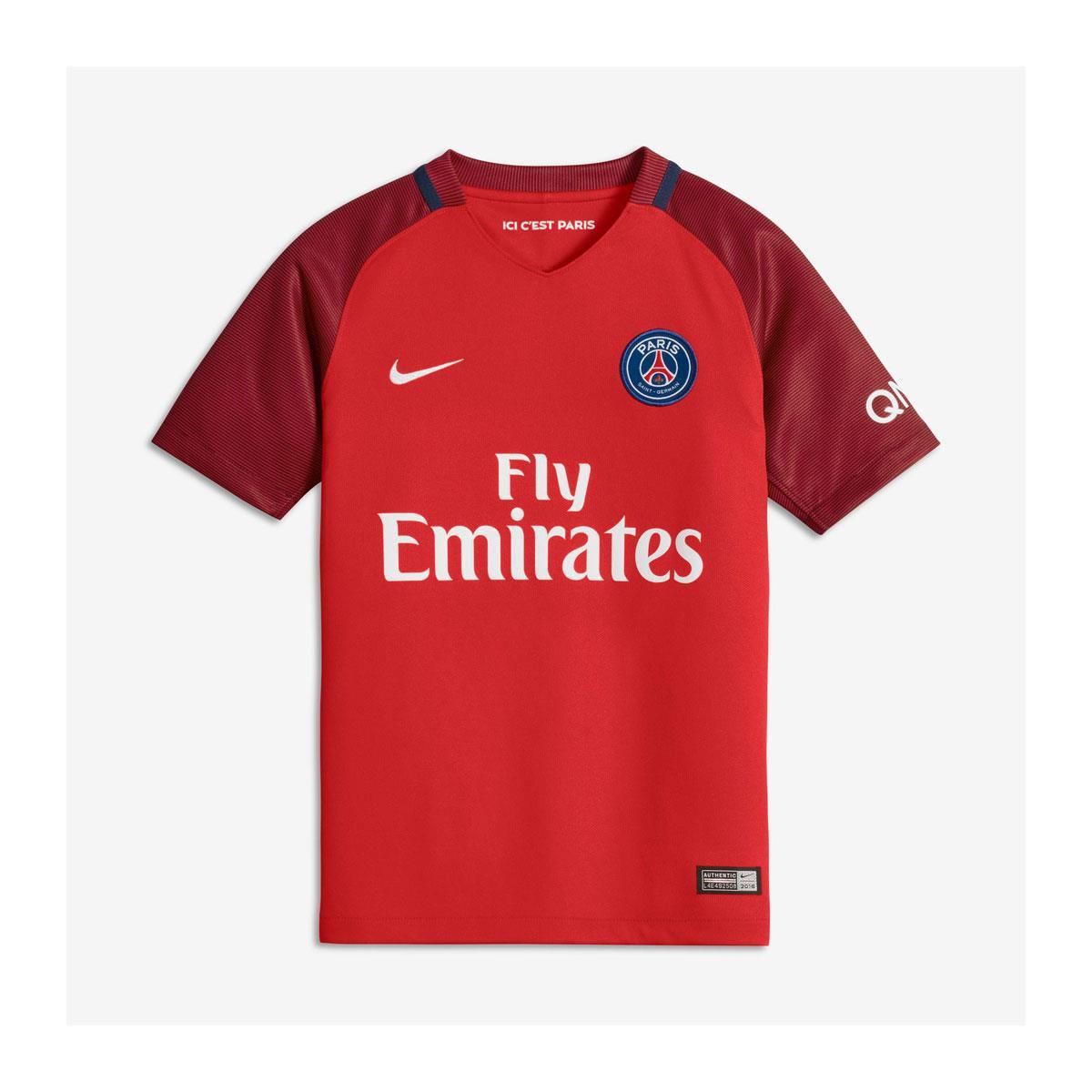 ee5b68bf9 Camisa Nike PSG II 2016 2017 Vermelha Infantil