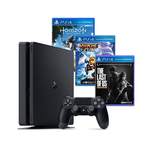 Console Playstation 4 Slim 500GB Bundle Playstation Hits (3 jogos e PS Plus) CUH-2014A
