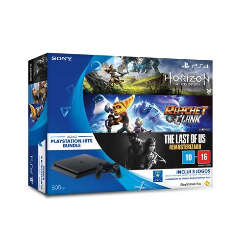 Console Playstation 4 Slim 500GB Bundle Playstation Hits (3 jogos e PS Plus) CUH-2014A