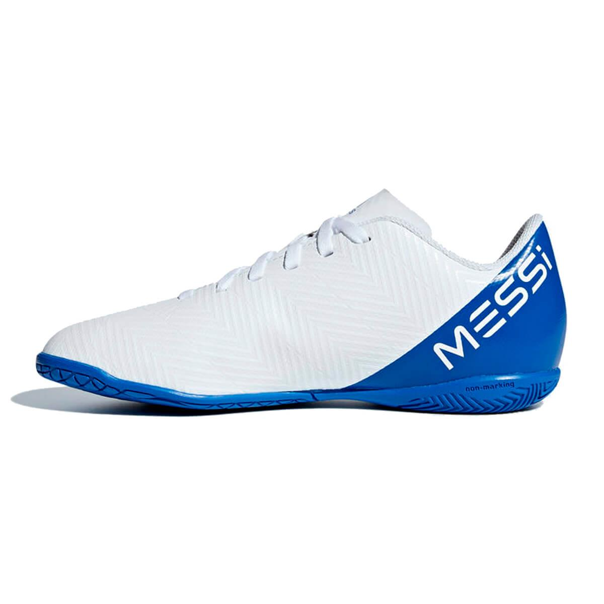 81c97174da Chuteira Futsal Adidas Nemeziz Messi Tango 18.4 Infantil Branca e Azul