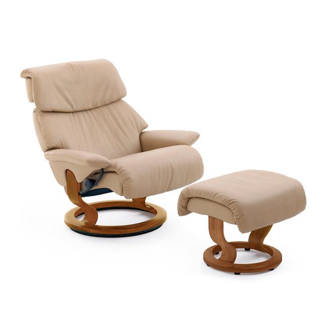 poltrona ekornes stressless spirit com puff. Black Bedroom Furniture Sets. Home Design Ideas