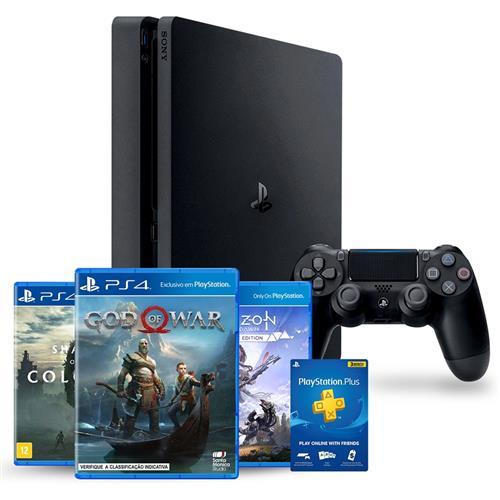Console Playstation 4 Slim Hits Bundle 4 1tb + 3 Jogos Diversos + 3 Meses