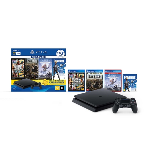 Console Playstation 4 Slim Hits Bundle 6 1tb + 4 Jogos