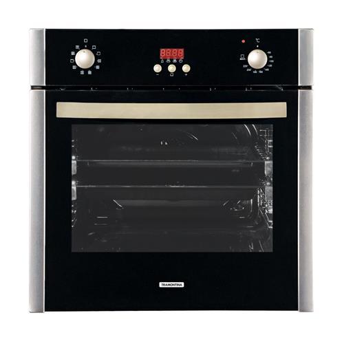 Forno Elétrico de Embutir Tramontina Glass Chef 60 F10 Preto 56 litros Timer Eletrônico e Turbo Ventilador 220 V
