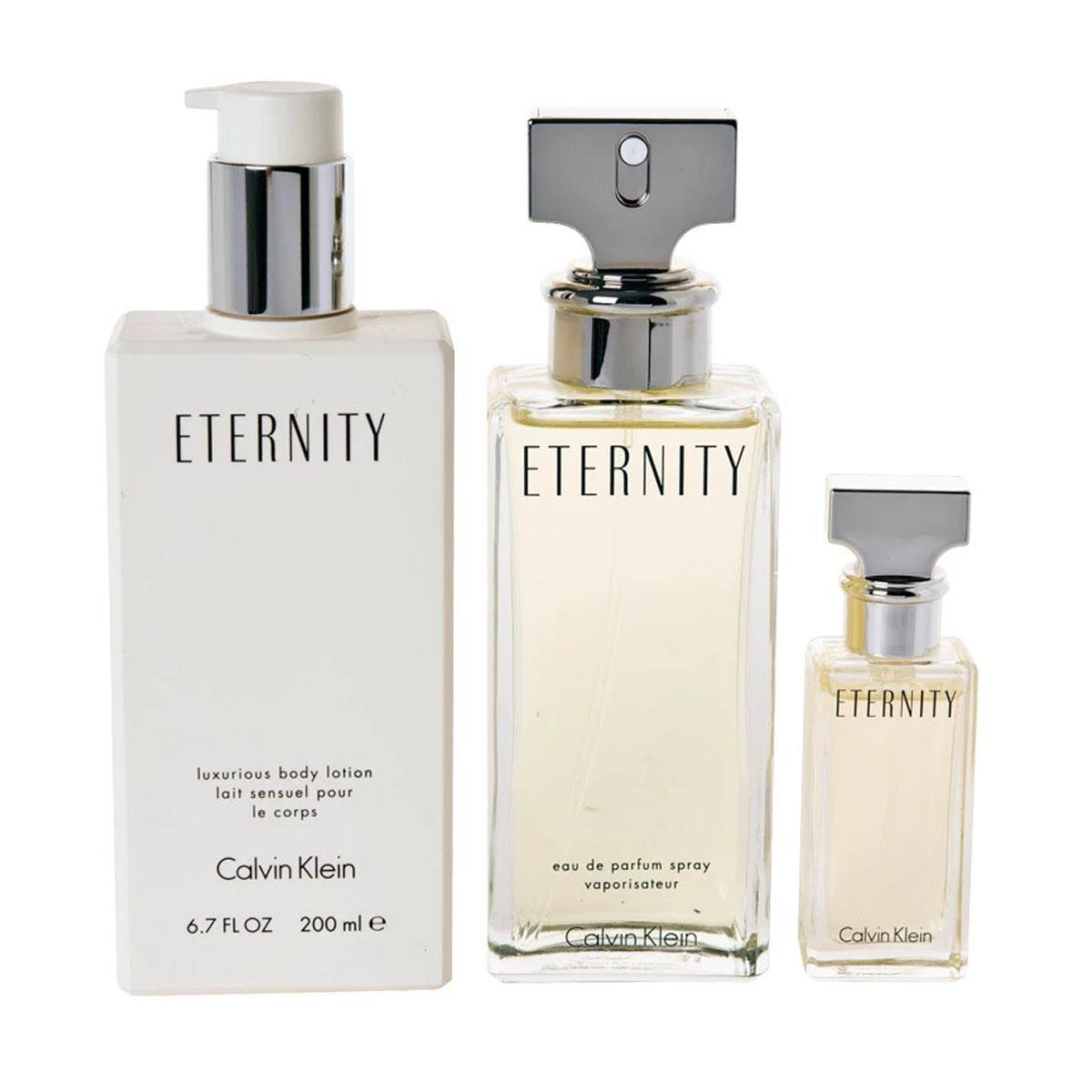 102623ed2e195 Coffret Calvin Klein Eternity Feminino - Eau de Parfum 100 ml + Miniatura  15 ml + Body Lotion 200 ml